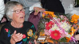 File photo: Christiane Lecocq at her 100th birthday