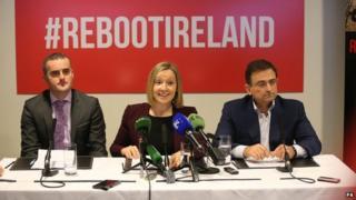 John Leahy, Lucinda Creighton and Eddie Hobbs at Friday's press conference
