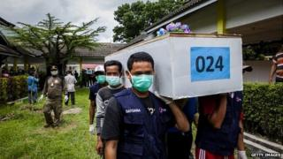 Members of the Indonesian search and rescue team carry a coffin containing a victim of the AirAsia flight 8501 crash at Iskandar Airbase in Pangkalan Bun - 3 January 2015