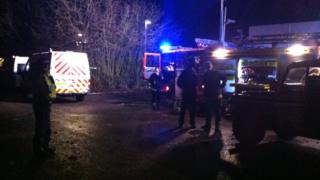 Emergency crews at the crash site