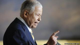 Former Senator Edward William Brooke speaks during a ceremony to honour him with the Congressional Gold Medal