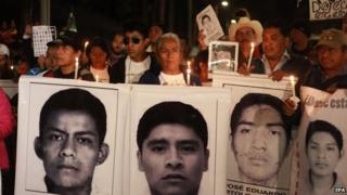 Vigil in Mexico city 01/01/15 relatives of 43 students disappeared in Iguala Guerrero state.