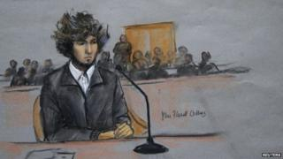 Boston Marathon bombing suspect Dzhokhar Tsarnaev is shown in a courtroom sketch during a pre-trial hearing at the federal courthouse in Boston, Massachusetts (18 December 2014)
