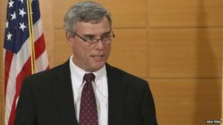 St. Louis County Prosecutor Bob McCulloch announces the grand jury's decision not to indict Ferguson police officer Darren Wilson in the August 9 shooting death on Michael Brown at the Buzz Westfall Justice Center in Clayton, Missouri, 24 November 2014
