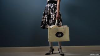 woman with sale bag