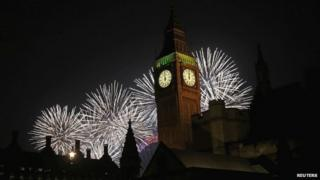 New Year's Eve celebrations over the Houses of Parliament
