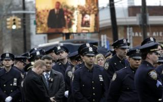 Police protest at funeral