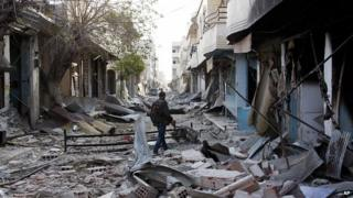 Ruined street in Kobane. 19 Nov 2014