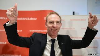 Jim Murphy celebrates after he was elected Scottish Labour leader last month
