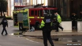 Fire engine crash - Canary Wharf