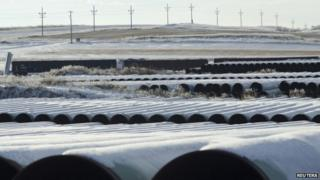 A depot used to store pipes for Transcanada Corp's planned Keystone XL oil pipeline is seen in Gascoyne, North Dakota 14 November 2014