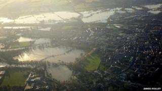 Aerial shot of flooded fields in Oxfordshire PHOTO: James Holley