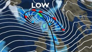 A low pressure will sit over Scotland on Thursday night