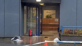Scene outside Clydebank police office