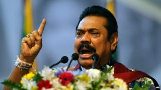 Mahinda Rajapaksa addresses to supporters as he attends an election rally in the Colombo suburb of Piliyandala on January 5, 2015