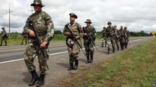 Paraguayan soldiers near the town of Presidente Reyes, 26 April 2010