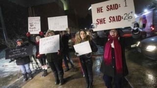 Protestors outside Kitchener's Centre in the Square