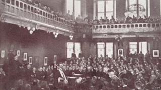 Former president Theodore Roosevelt addressing the society in 1910