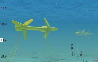 Illustrative underwater turbines