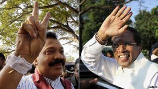 Composite image of President Mahinda Rajapaksa (left) and Maithripala Sirisena