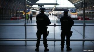 Armed police at St Pancras station