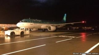 An Aer Lingus flight from Madrid and another from Frankfurt were among four planes diverted to Belfast overnight