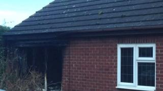Fire damaged annexe building in Fleet, near Holbeach