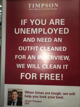 Twitter picture of Timpsons advert for free dry clearning for unemployed
