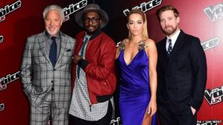 The coaches on The Voice, L-R Sir Tom Jones, will i am, Rita Ora and Ricky Wilson, photographed at show's launch this month