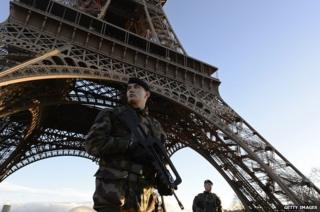 French soldiers patrol in front of the Eiffel Tower on 8 January 2015
