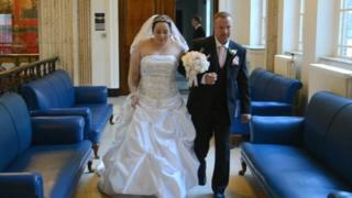 Jamie Jepson walking down the aisle with stepfather Andrew Oxley