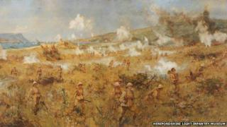 Picture by Charles Dixon of Herefordshire Regiment soldiers landing at Suvla Bay, Gallipoli