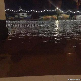 Flooding at The Harbour Inn in Southwold