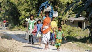 Hundreds of tribespeople fled their homes after the attacks in Assam