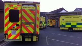 Ambulances outside Wrexham Maelor Hospital