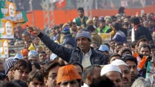 Bharatiya Janata Party workers at Indian prime minister Narendra Modi's rally in Delhi on 10 January 2015, ahead of Delhi elections