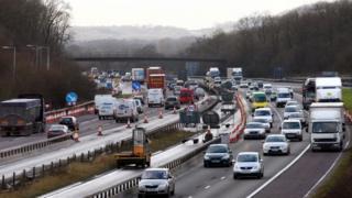 Traffic jam on M25