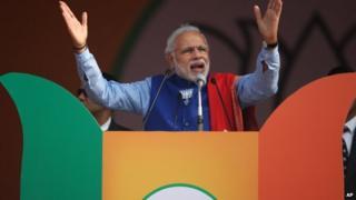 Mr Modi is leading the BJP's campaign in Delhi