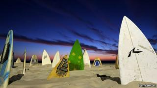 Sculpture with surfboards at Cottesloe beach, Perth, by artist Chris Anderson