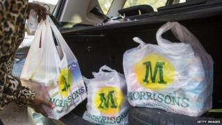 Morrisons shopping bags in car boot