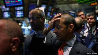 Traders on the floor of the New York Stock Exchange on 16 September 2008