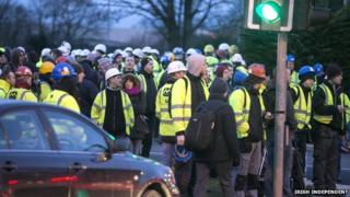 Workers were forced to wait outside the plant during the alert
