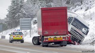 Lorry on A9 near Carrbridge