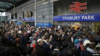 Passengers waiting at Finsbury Park