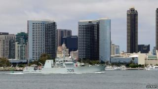 The Canadian coastal defence vessel HMCS Whitehorse (MM 705) transits the San Diego Bay for Rim of the Pacific (RIMPAC) 2014.