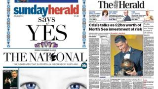 Composite of Scottish newspapers