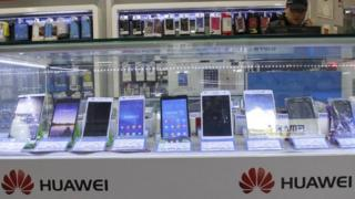 Huawei smartphones in shop window