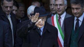 Italian President Giorgio Napolitano in Rome (13 January 2015)