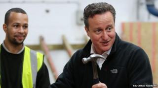 David Cameron with a hammer