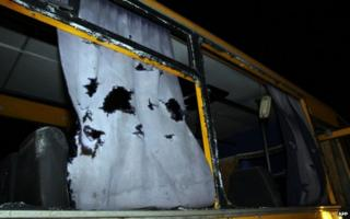 Bus destroyed by a shell at the checkpoint near the town of Volnovakha. 13 Jan 2015